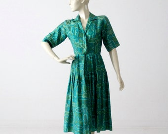 1950s silk dress by Jerry Gilden, vintage 50s shirt dress