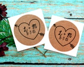 Heart With Initials and Date Stickers, Envelope Seals, Custom Stickers, Wedding Favor Label