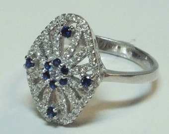 Blue and White Sterling Silver Sapphire Ring