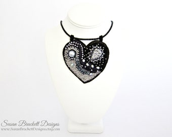 Beaded Heart Necklace Statement Jewelry Fashion Pendant Silver Druzy Black Pearl Ribbon Bead Embroidery Noire MyBeadingHeart Leather