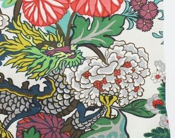 Schumacher Chiang Mai Dragon Roman Shade (Shown in Alabaster - comes in 8 Colors)