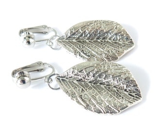Silver Leaf Clip-On Earrings