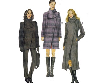 Vogue Coat Sewing Pattern Bust 38 40 42 44 46 Funnel Neck Asymmetric Closing Lined Jacket Vogue 8933 UNCUT