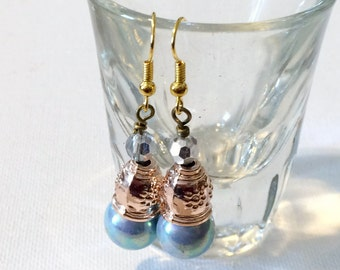 Baby Blue Vintage Glass Pearl Earrings, Rose Gold Jewelry, Nickel-Free Jewellery, Dangle Earrings, Handmade Jewelry, French Hook Ear Wires,