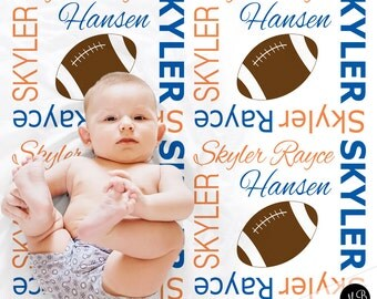 Football blanket in blue and orange, personalized gift, boy football blanket, photo prop blanket, personalized sports name blanket, blanket