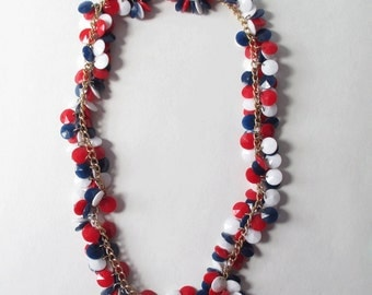 Patriotic Necklace Vintage Hong Kong Red White and Blue Necklace