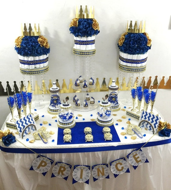 centerpiece with baby shower favors royal blue and gold prince theme