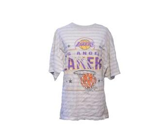 Vintage LA Lakers Striped T-shirt 90s Los Angles Basketball Shirt Size XL