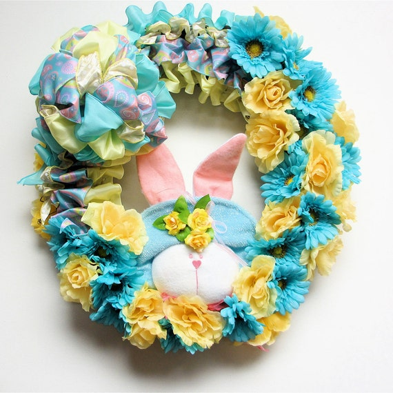 Spring Floral Wreath Bunny Wreath Easter / New Baby Silk Floral Turquoise Yellow 24X18 Indoor Outdoor