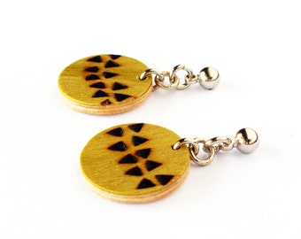 Long earrings, Minimal earrings, Wood earrings, Boho earrings, Wooden earrings, Artisan earrings, Stud earrings