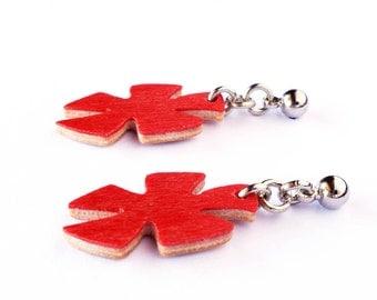 Long earrings, Dangle earrings, Woman earrings, Choose color, Wooden jewelry, Casual jewelry, Wood accessories Trendy jewelry Casual jewelry