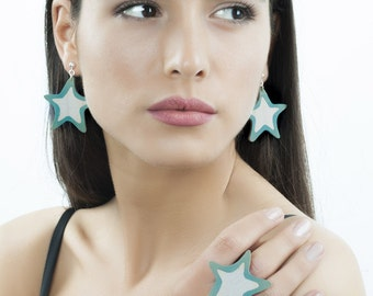 Wooden Star Earrings and Star Ring Jewelry Set