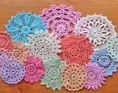 15 Colorful Hand Dyed Vintage Doilies, 2.5 to 5 inch doilies, Craft Doilies, Dream Catcher Doilies