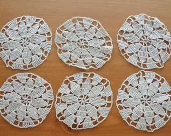 Crochet Rounds, Set of 6 Crochet Medallions, Beige Vintage Medallions, Crocheted Mandalas for Sewing, Decorating, Weddings, Dream Catchers