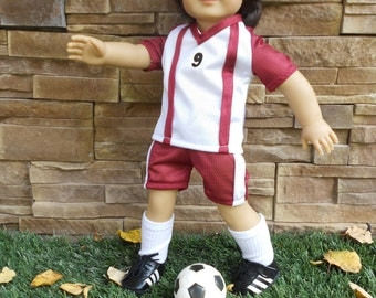 Girl power sports soccer uniform  includes cleats and ball fits 18 in doll like American Girl