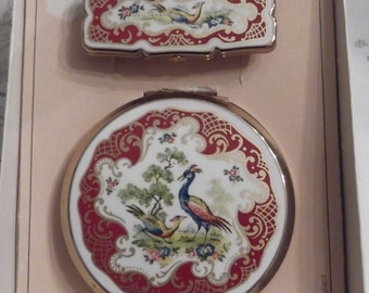 Stratton Powder Compact; 2 pc Set Featuring Two Pheasants on a white and dark red background circa 1950's-1980's   DR117