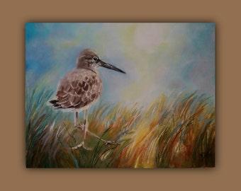 Original Oil BEACH BIRD, Original Oil Painting, bird, beach, grasses, sand, sky, signed by the artist, DanaC