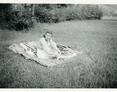 "Vintage Photo ""Picnic Patty"" Cute Summer Girl Snapshot Photo Old Antique Photo Black & White Photograph Found Paper Ephemera Vernacular - 41"