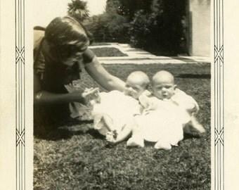 "Vintage Photo ""Double Delight"" Baby Snapshot Photo Old Antique Photo Black & White Photograph Found Photo Paper Ephemera Vernacular - 161"