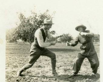"""Vintage Photo """"Later He Regretted It"""" Play Fighting Snapshot Antique Photo Black & White Photograph Found Paper Ephemera Vernacular - 120"""