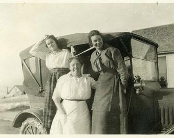 "Vintage Photo ""The Family's First Car"" Women Girl Snapshot Old Antique Photo Black & White Photograph Found Paper Ephemera Vernacular - 66"