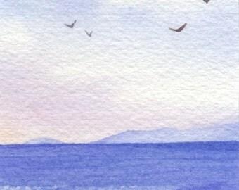 Original Watercolor Painting ACEO - Land ho