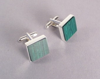 Green Cuff Links SHIPS IMMEDIATELY Composite Green Malachite Handmade Square Green Cuff Links Green Wedding Green Birthday Gifts for Him