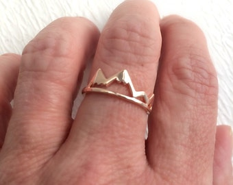 Rose Gold Mountain Ring, adjustable band travel simple delicate mountains hiking hike outdoors skiing ski birthday gift gifts