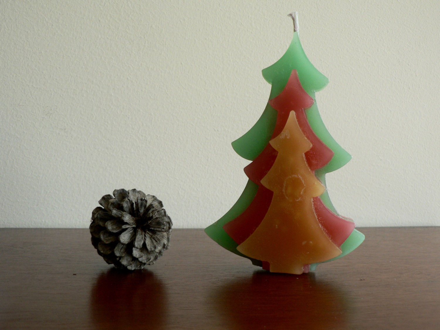 Christmas tree candle 63 tall green red and yellow for Red and yellow christmas tree