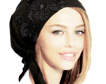 Black Head Scarf Tichel Boho Chic Bad Hair Day Chemo Head Scarves Hair Snood Pre tied Bandana: Fancy Black Floral Applique
