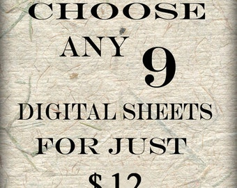 SPECIAL SALE  Bundle Collage 9 Sheets of Your Choice (S-9)