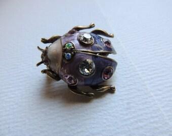 Rhinestone enamel bug brooch   VJSE