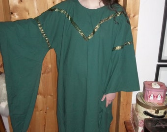 Angel wing dress in hunter green with green and gold trim