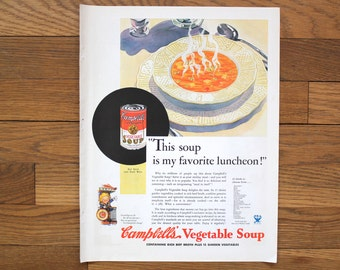 Campbell's Soup Advertisement - Campbell Vegtable Soup Ad - Vintage Advertisement - P and G Soap Advertisement - Vintage Food Advertisement