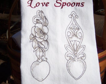 Welsh Love Spoons Tea Towel/ Embroidered Kitchen Dish Towel/Embroidered Tea Towel/Embroidered Kitchen Towel/ Embroidered Dish Towel