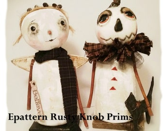 Primitive Cloth Doll Pattern Wynter White Pumpkin and Snow Angel Epattern Instant Download