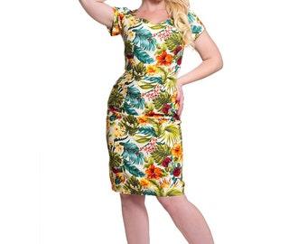 Rockabilly Pin up wiggle dress 'TIKI'