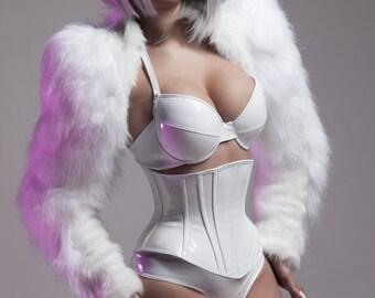 White 34/32C pushup PVC bra from Artifice (photoshoot sample)