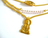 Budha Necklace, Budha Pendant, Swarovski necklace, gold fillled, gold, gold plated, 3 layer necklace, 3 layered necklace, layered necklace,