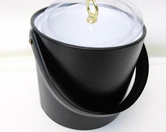 Vintage Ice Bucket   Black Vinyl Barware   Georges Briard   Bar Accessory   Wine Chiller