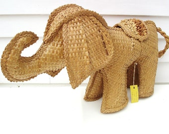 Vintage Elephant, Zoo Animal, Large Wicker Elephant, Baby Elephant Nursery Decor, Rattan Natural Fiber