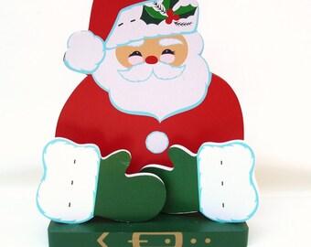 Vintage Christmas Card Holder, Wood Santa Wall Hanging, Napkin Holder, Wooden Santa, Holiday Wall Art