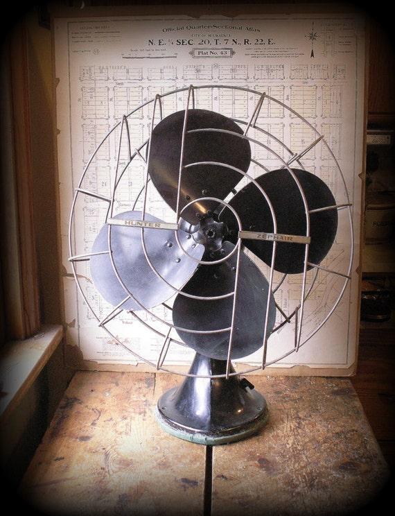 Hunter Century Table Top Fans : Vintage large hunter zephair oscillating desk fan mid
