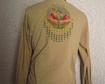 70's Vintage Men's Hippie Native American Medicine Wheel Shirt med/ large
