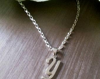 The letter Y pendant, silver pendant, Y pendant, silver necklace, initial pendant, letter pendant, long chain necklace.