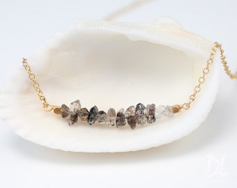 Raw Diamond Necklace - Herkimer Diamond Bar Necklace - April Birthstone  Necklace - Raw Stone Necklace - Layering Necklace - Beaded Necklace
