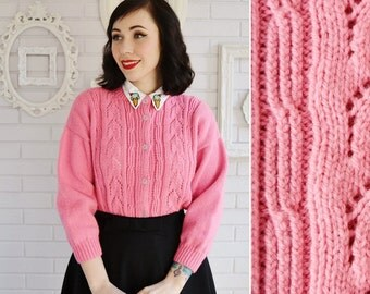 Vintage Sherbet Pink Cardigan with Open-Knit Design Down Front Size Small