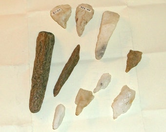 American Indian Artifact - Collection of Drill Points and tools from Ancient Weyanoke Indian settlement site Virginia