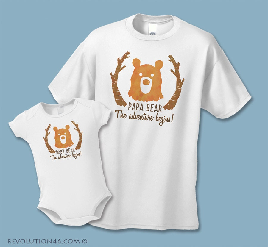 Papa Bear Baby Bear Matching: Papa Bear And Baby Bear Matching Shirt Set 2 Shirts