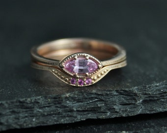 Pink Sapphire Marquise Ring, Vintage Inspired Rose Gold Marquise East West Ring, Engagement Wedding Set, Ready to Ship Gold Ring
